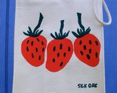 Red Strawberries, Reusable Organic Lunch Bag