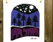 3 Bears in The Night Forest- Limited Edition Silk Oak Print