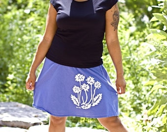 Sky Blue Dandelion Roll Waist Cotton Skirt