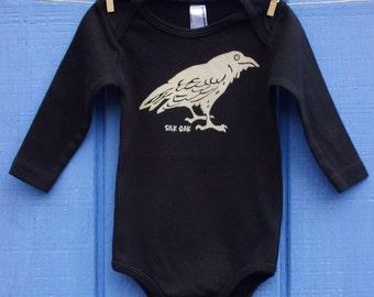 Mischievous Black Raven Long Sleeve Infant One Pc.