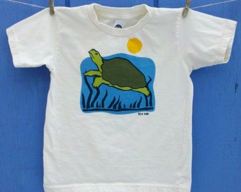 Spring Pond Moss Green Turtle Organic Kid Tee