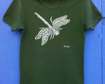 Olive Dragonfly Women's Jersey Cotton Tee S-2XL