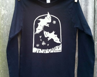 Halloween Bats with Fireflies Kid LS Tee