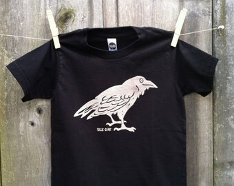 Black Raven Child's Tee Hand Silkscreened Sizes 2, 4, 6, 8, 10, 12