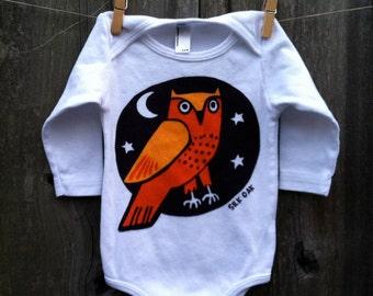 Orange Owl, Long Sleeve, Infant One Piece