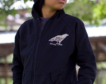 Midnight Black Raven Hooded Kid's Sweatshirt
