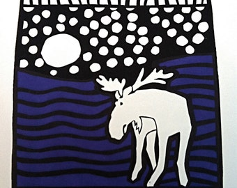 Full Moon Moose Limited Edition Silk Oak Print