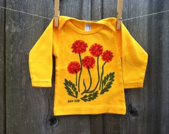 Dandelion Golden- Orange Hand Silkscreened Infant Long Sleeve Tee