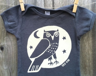 Woodland Grey Owl Hand Silkscreened Infant Short Sleeve Tee 3m-24m
