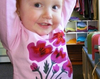 Pink Poppies Long Sleeve Baby Tee 3-6m, 6-12m, 12-18m, 18-24m