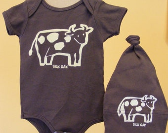 How Now, Brown Cow One piece Romper and Hat Set