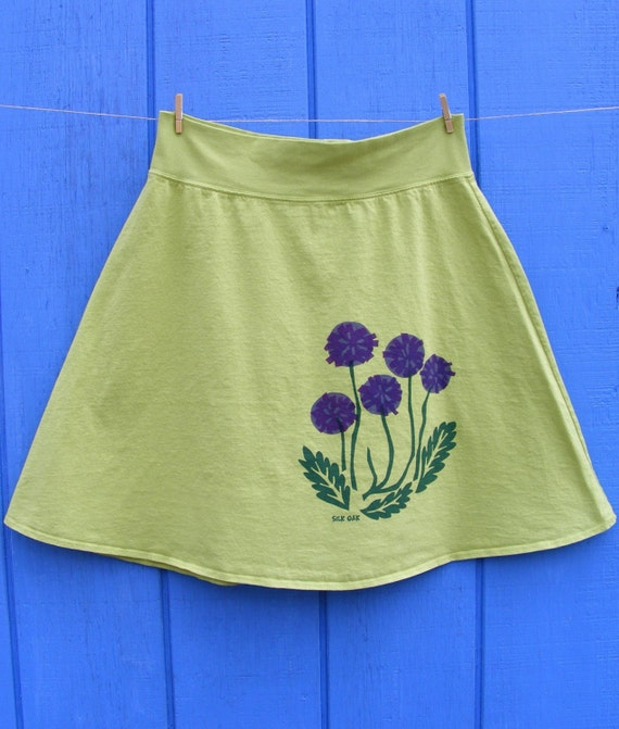 Purple Flowers on a Lime Green Skirt