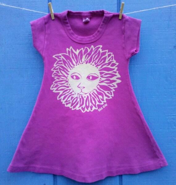Cat Flower on a Magenta A-Line Girl's Dress