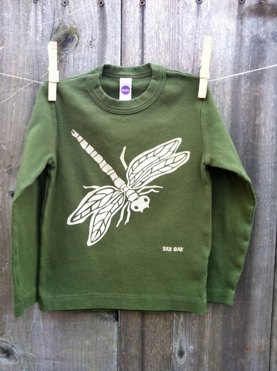 Olive Dragonfly Kid Long Sleeve  Tee Sizes 2, 4, 6, 8, 10, 12