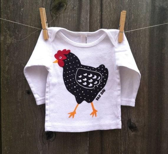 Dotty Chicken Hand Silkscreened Long Sleeve Baby Tee