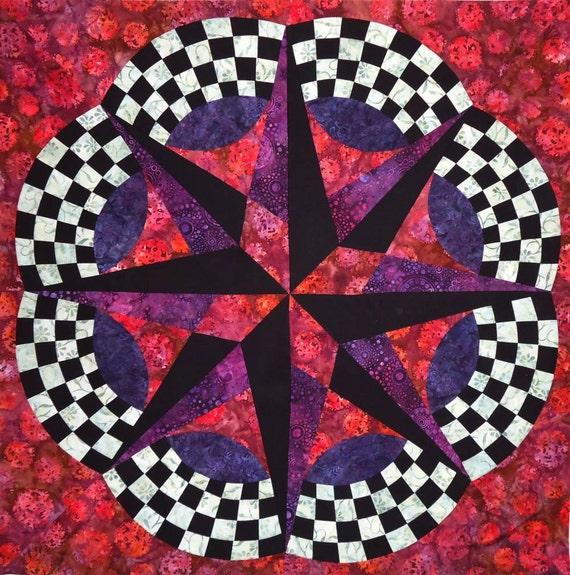 Batik Mariner's Compass Quilt Top Ready to Quilt