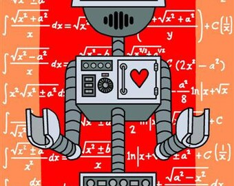 Nerdy Robot Print with math formulas in background