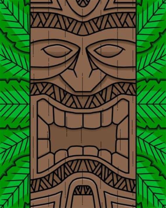 Articoli simili a stampa maschera tiki hawaiano su etsy for Tiki hawaiano