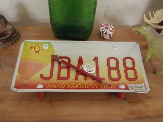 New Mexico License Plate Tray - Repurposed and Upcycled and Reclaimed
