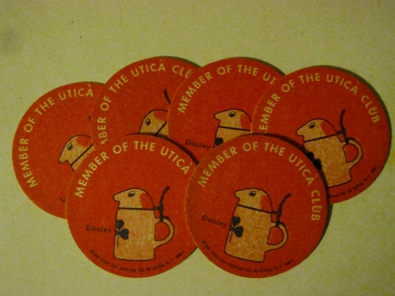 10 Vintage Utica Club Beer Coasters Nos New York Dooley
