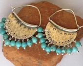 Sterling silver Half moons hoops and Turquoise beads