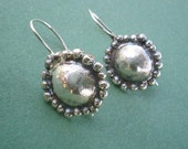Small Earrings Sterling silver domes with Granules