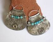 Large Silver Turquoise Hoops, Ear Piercing Hoops, Textured Hammered Silver Earrings, Mixed Metals Hoops, Tribal Turquoise Hoops
