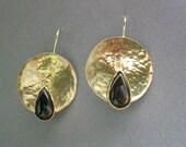 Geometric Earrings, Gold Dangle Earrings, Gold Dainty Earrings, Brown Agate, Earrings Dangle, Drop Earrings, Gold plated Brass,Drop Earings