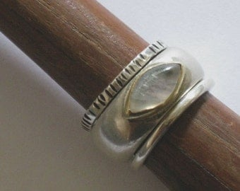 Moonstone Ring, Moon Stacking Rings, Rainbow Moon Ring, Silver Gold Moonstone, Ring Rainbow Moonstone, Two Tone Moonstone ring