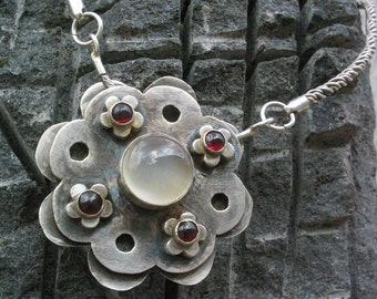Silver Moonstone and Garnet Pendant Necklace