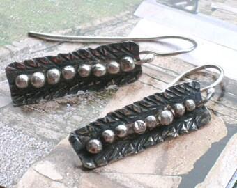Hammered Silver Earrings, Earrings Handmade, Sterling Silver Earrings, Dangle Earrings, Everyday Earrings, Long Earrings, Oxidized Earrings