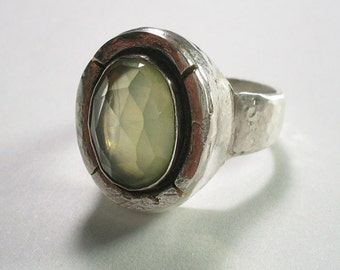 Prehnite  sterling silver jewelry ring