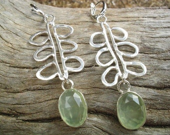 Silver Prehnite Earrings, Green Stone Earrings, Earrings Green Stones, Earrings Dangle, Prehnite Drop Earrings, Silver Green Earrings