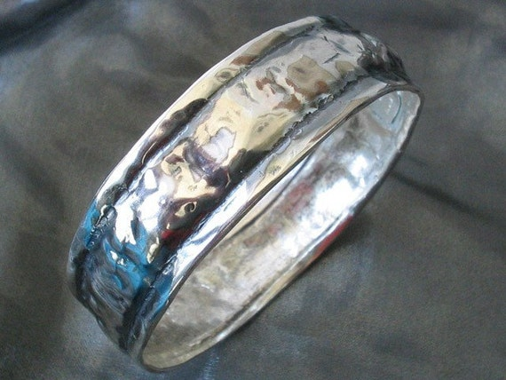 Silver Bracelet Bangle, Hammered Silver Bracelet, Sterling Silver Bracelet, Earthy Bracelet, Earthy Jewelry, Artisan Bangle, Minimalist