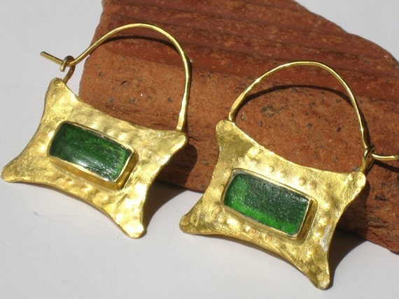 Ancient Style 22k gold plated hoops with Emerald Mediterranean Sea Glass