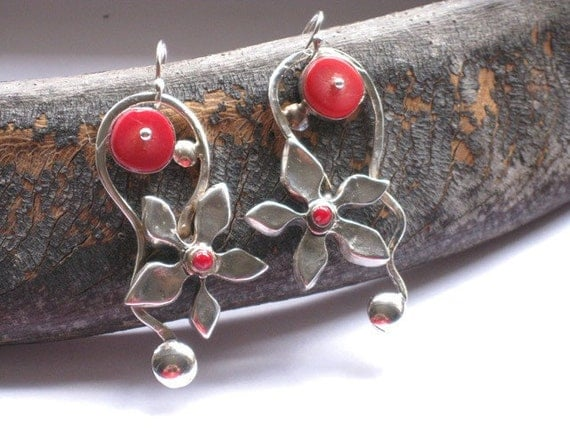 Silver Coral Earrings, Dangle Earrings, Drop Earrings, Red Stone Earrings, Sterling Flower Earrings, Silver Coral Jewelry, Artisan Earrings