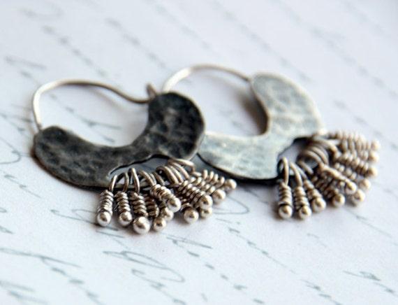 Silver Hoop Earrings, Delicate Hoops, Hammered Hoops, Sterling Ear Hoops, Tribal Hoops, Organic Hoop Earring, Textured Earrings,Hoop Earring