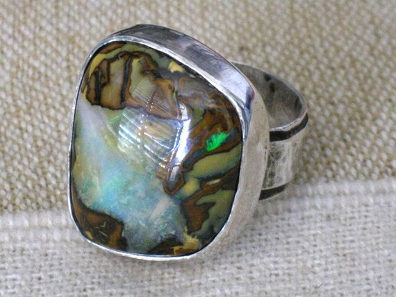 Freeform Australian Opal and silver ring