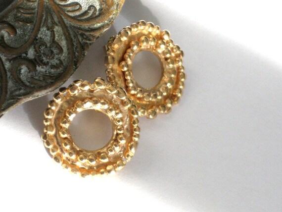 Gold Stud Earrings, Gold Earrings, Yellow Gold Earrings, Gold Plated Earrings, Medium Stud Earrings, Gold Post Earrings,  Wheel Earrings