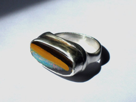 Metalwork Freeform Silver and Australian  Opal stone ring