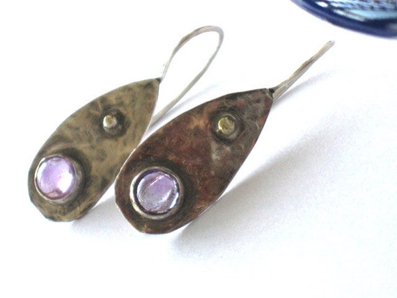 Amethyst Dangle Earrings, Silver Amethyst Earrings,  Amethyst Drop Earrings, Purple Earrings, Purple Stone Earrings, Sterling Amethyst