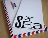 Seattle, Washington - SEA Jet Set Stationery - Set of 6 - Hand Screen Printed