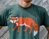 Mens Tshirt - Knit Fox - Animal Shirt - American Apparel