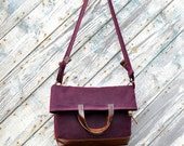 Waxed canvas and leather purse/  The Adiran in Plum