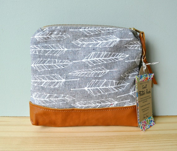 Mini Feather Zip Pouch