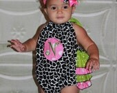 Girafee Hot pink and lime green Initial Sunsuit