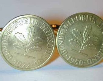 Coin cuff links-German golden oak leaf cuff links-handmade in the USA-free shipping