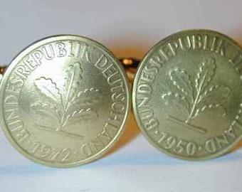 Coin cufflinks-German golden oak leaf cufflinks-handmade in the USA-free shipping