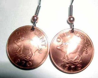Coin earrings-Bermuda razorback earrings-handmade in the USA-free shipping