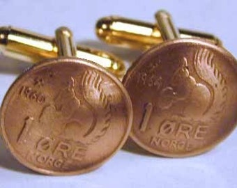 Coin cufflinks-Norway Squirrel cufflinks-handmade in the USA-free shipping!